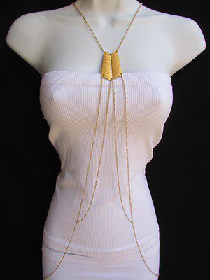 Women La Gold Double Metal Plate Classic Chic Body Chain Jewelry Long Necklace - alwaystyle4you - 3