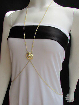 Women Full Body Chain Jewelry Long Necklace Paris Style Gold Metal Lion Head Thin - alwaystyle4you - 11
