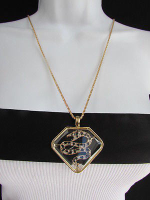 Women Gold Metal Chains Fashion Necklace Big Snake Pendant Silver Rhinestones - alwaystyle4you - 12