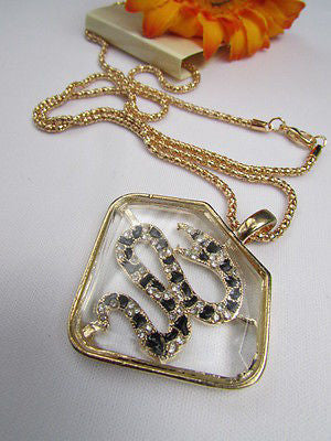 Women Gold Metal Chains Fashion Necklace Big Snake Pendant Silver Rhinestones - alwaystyle4you - 9