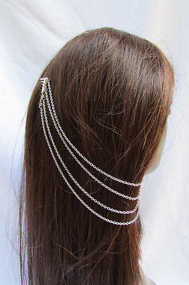 Brand New Trendy Fashion Women Silver Chain Spikes Cuff Earring To Hair Pin Headband Claw - alwaystyle4you - 6