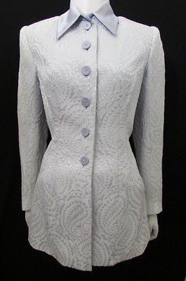 Light Blue Classic Long Quilted Jacket Authentic Peggy Jennings Vintage Brand New Women Size 8