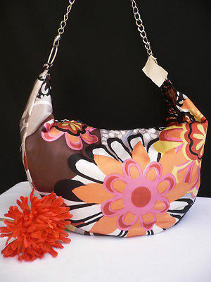 New Women Spring Summer Flowers Beach Bag Pink Orange Red Handbag Handmade
