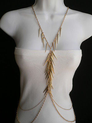 Women Gold Long Spikes Long Body Chain Fashion Trendy Fashion Jewerly Style - alwaystyle4you - 9