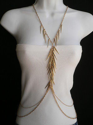 Women Gold Long Spikes Long Body Chain Fashion Trendy Fashion Jewerly Style - alwaystyle4you - 4