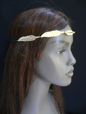New Women Big Gold Metal Leaf Head Chain Band Fashion Jewelry Grecian Headband - alwaystyle4you - 10