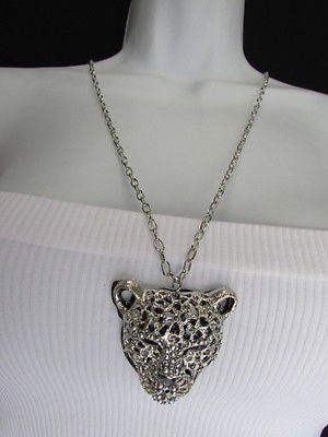 Ny Chic Women Silver Black Leopard Necklace Tiger Head Pendant Rhinestones Long - alwaystyle4you - 12