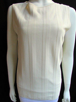 Brand New Valentino Women Top Basic Cream - Off White Classic Boat Neck Sleevless Knit Shirt Size: Large - alwaystyle4you - 3