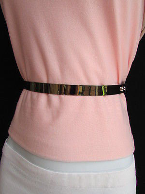 Silver / Gold Metal Mirror Plate Chic Black Fabric Stretch Waist Hip Thin Belt New Women Fashion Accessories XS To L - alwaystyle4you - 7