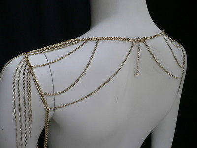Women Gold Double Shoulders Body Chain Fashion Slim Stylish Design Cliche - alwaystyle4you - 1
