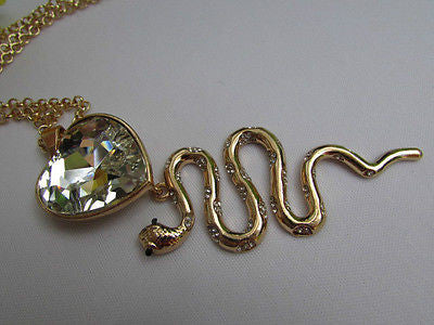 Women Gold Metal Chains Fashion Necklace Big Snake Pendant Heart Rhinestones - alwaystyle4you - 10