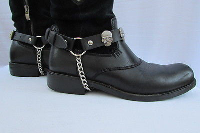 Biker Unisex Boots Silver Chains Pair Leather Straps Metal Skulls New Western Fashion - alwaystyle4you - 5