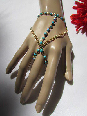 Women Gold Fashion 3 Strands Hand Chains Sky Blue Beads Hand Bracelet Slave Ring - alwaystyle4you - 12