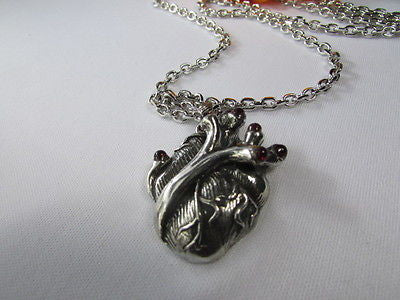 Men Women Silver Chains Fashion Necklace Metal Human Heart Red Stones Pendant - alwaystyle4you - 5