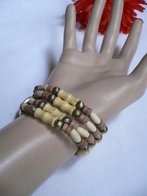 Beige Brown Wood Cream / Brown Bracelet Gold Dots Beads Native Style Fashion New Women Jewelry Accessories - alwaystyle4you - 5