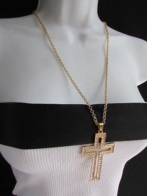 Wester Women Gold Metal Fashion Necklace Big Cross Pendant Silver Rhinestones 15 - alwaystyle4you - 8