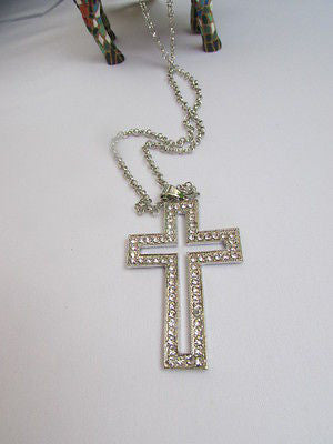 "Wester Women Silver Metal Fashion Necklace Big Cross Pendant Rhinestones 15"" - alwaystyle4you - 7"