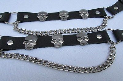 Biker Unisex Boots Silver Chains Pair Leather Straps Metal Skulls New Western Fashion - alwaystyle4you - 4