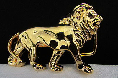 "New Women / Men Belt Buckle Fancy Shiny Gold Metal Fashion Buckle Big Lion Body 3""/2"" For Thin Narrow Belts - alwaystyle4you - 5"