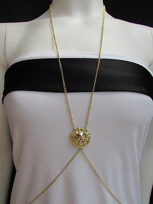 Women Full Body Chain Jewelry Long Necklace Paris Style Gold Metal Lion Head Thin - alwaystyle4you - 12