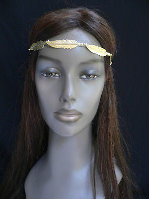 New Women Big Gold Metal Leaf Head Chain Band Fashion Jewelry Grecian Headband - alwaystyle4you - 7