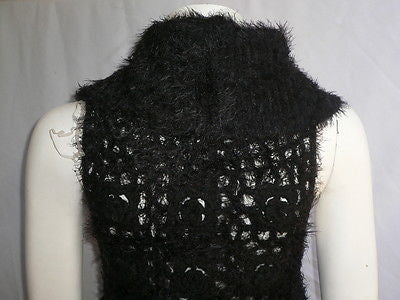 New Women Black Trendy Knit Shawl Warm Top Flowers Sweater Fashion Sleeveless S - alwaystyle4you - 5
