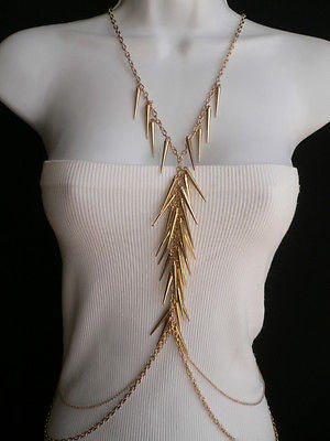 Women Gold Long Spikes Long Body Chain Fashion Trendy Fashion Jewerly Style - alwaystyle4you - 11