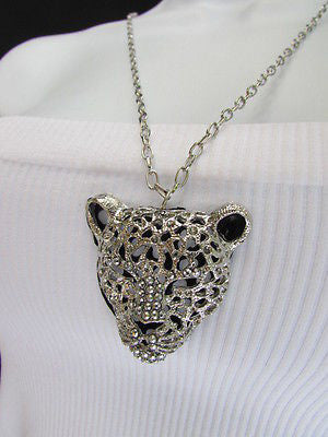 Silver Black Leopard Tiger Head Pendant Multi Rhinestones Long Necklace New Women Accessories