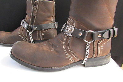 Silver Boot Chain Bracelet Pair Black Leather Straps Rose Flowers New Western Women Men