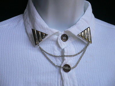 Men Women Silver Triangle Shirt Collar Blouse Tip Chains Rivet Pins Western Punk
