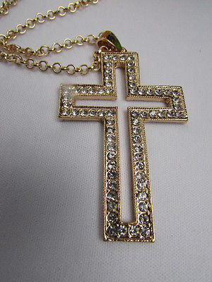 Wester Women Gold Metal Fashion Necklace Big Cross Pendant Silver Rhinestones 15 - alwaystyle4you - 4