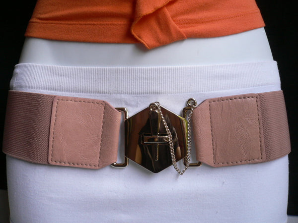 Blue Gray / Black /  Beige / Pink Coral Elastic Stretch Faux Leather Belt Gold Buckle Chains Big Cross New Women Fashion Accessories S M L - alwaystyle4you - 34