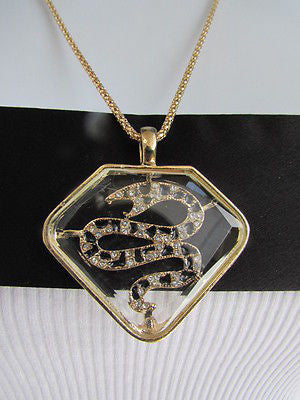 Women Gold Metal Chains Fashion Necklace Big Snake Pendant Silver Rhinestones - alwaystyle4you - 7