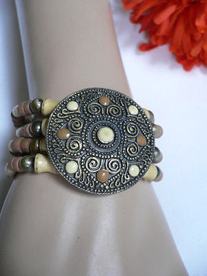 Beige Brown Wood Cream / Brown Bracelet Gold Dots Beads Native Style Fashion New Women Jewelry Accessories - alwaystyle4you - 4