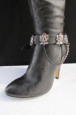 Silver Boot Chain Bracelet Pair Black Leather Straps Rose Flowers New Western Women Men - alwaystyle4you - 2