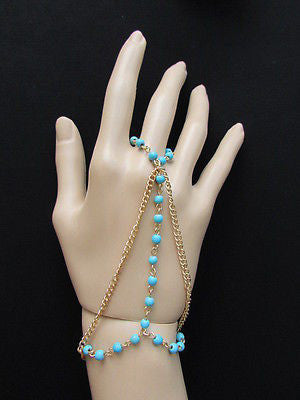 Women Gold Fashion 3 Strands Hand Chains Sky Blue Beads Hand Bracelet Slave Ring - alwaystyle4you - 1