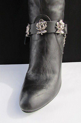 Silver Boot Chain Bracelet Pair Black Leather Straps Rose Flowers New Western Women Men - alwaystyle4you - 13