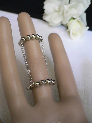 Hot Women Silver Metal Band Elastic Chic Fashion Double Ring Chain Rhinestones - alwaystyle4you - 10