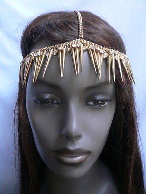 New Women Gold Head Chain Spikes Fashion Jewelry Rhinestones Circlet Headband - alwaystyle4you - 9