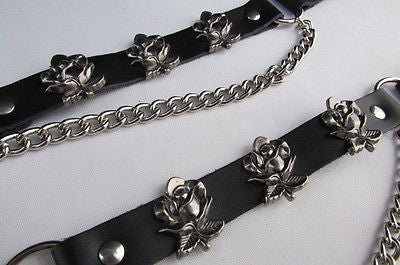 Silver Boot Chain Bracelet Pair Black Leather Straps Rose Flowers New Western Women Men - alwaystyle4you - 12