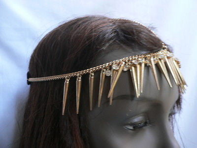 New Women Gold Head Chain Spikes Fashion Jewelry Rhinestones Circlet Headband - alwaystyle4you - 10