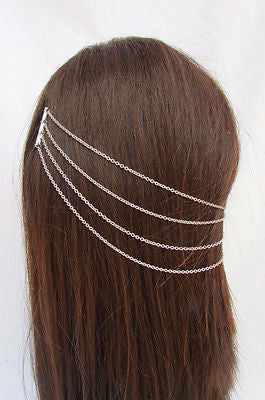 Brand New Trendy Fashion Women Silver Chain Spikes Cuff Earring To Hair Pin Headband Claw - alwaystyle4you - 11