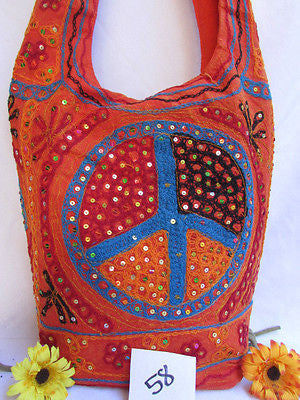New Women Cross Body Fabric Fashion Messenger Hand Bag Big Peace Sign Black Red Blue - alwaystyle4you - 123