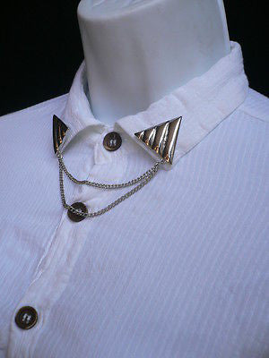 Men Women Silver Triangle Shirt Collar Blouse Tip Chains Rivet Pins Western Punk - alwaystyle4you - 11