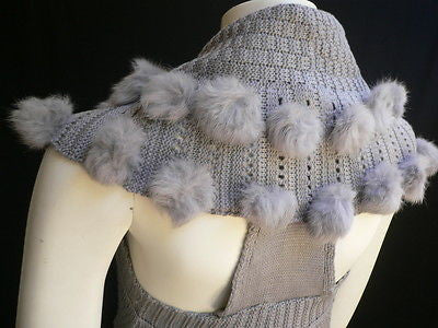 New Women Gray Trendy Knit Shawl Warm Sexy Top Faux Fun Ball Fashion Sweater Size L - alwaystyle4you - 9