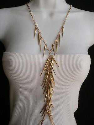 Women Gold Long Spikes Long Body Chain Fashion Trendy Fashion Jewerly Style - alwaystyle4you - 12