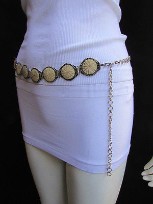 Silver Metal Chains Ivory Circles Shaped Unique Hip Waist Belt New Women Hot Fashion Accessories S - M - alwaystyle4you - 6