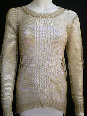 New Women Metallic Gold Knit Top Sweater Fashion Tunic Long Sleeves Blouse Size Small - alwaystyle4you - 2