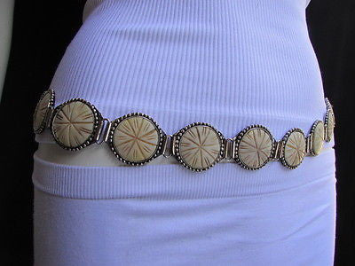 Silver Metal Chains Ivory Circles Shaped Unique Hip Waist Belt New Women Hot Fashion Accessories S - M - alwaystyle4you - 2