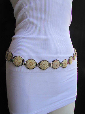 Silver Metal Chains Ivory Circles Shaped Unique Hip Waist Belt New Women Hot Fashion Accessories S - M - alwaystyle4you - 3